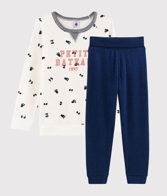 Pyjama petit garçon taille montante en bouclette éponge grattée blanc Marshmallow / bleu Medieval