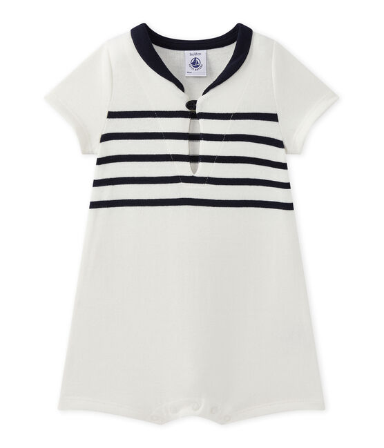 Combicourt bébé garçon manches courtes blanc Marshmallow / bleu Smoking
