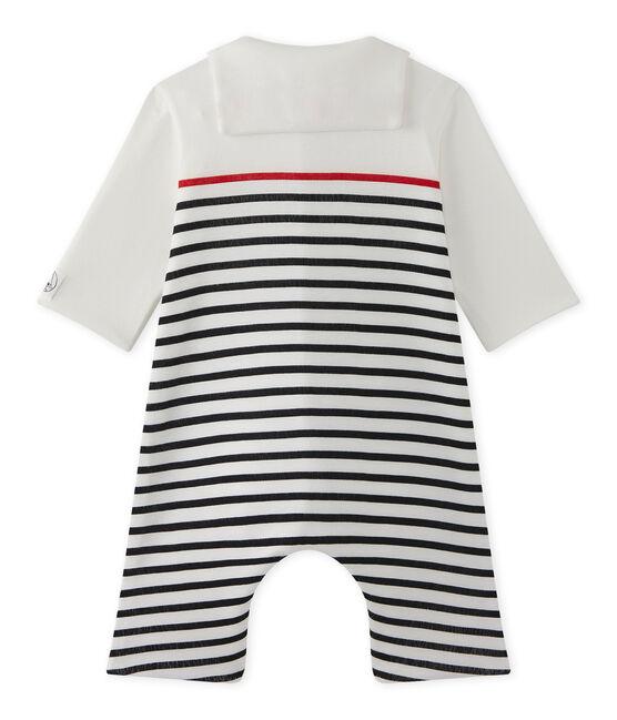 Combinaison bébé garçon rayée à col vareuse blanc Lait / bleu Smoking