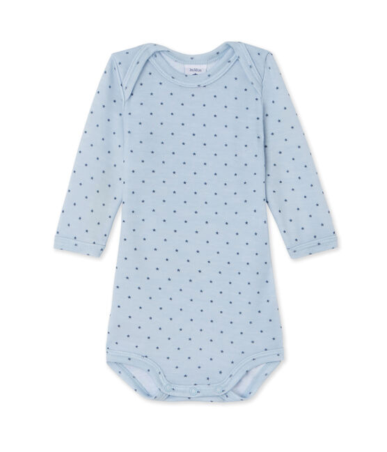 Body bébé garçon manches longues laine et coton bleu Fraicheur / gris Tempete