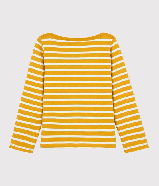 Marinière en jersey enfant fille - garçon jaune Boudor / blanc Marshmallow