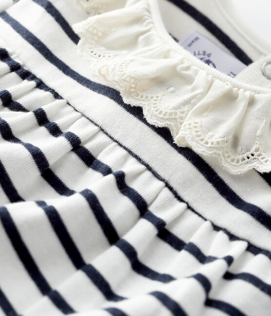Blouse manches longues bébé fille blanc Marshmallow / bleu Smoking