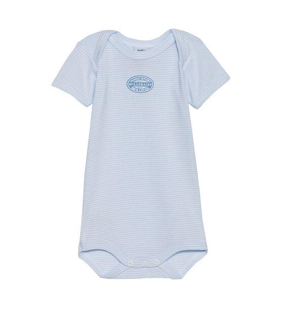 Body bébé garçon manches courtes à milleraies bleu Fraicheur / blanc Ecume