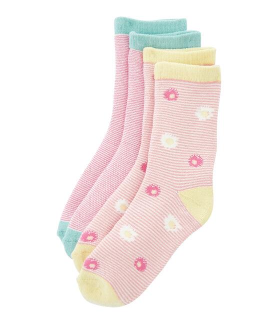 Lot de 2 paires de chaussettes enfant fille bleu Marshmallow:smoking / blanc Marshmallo