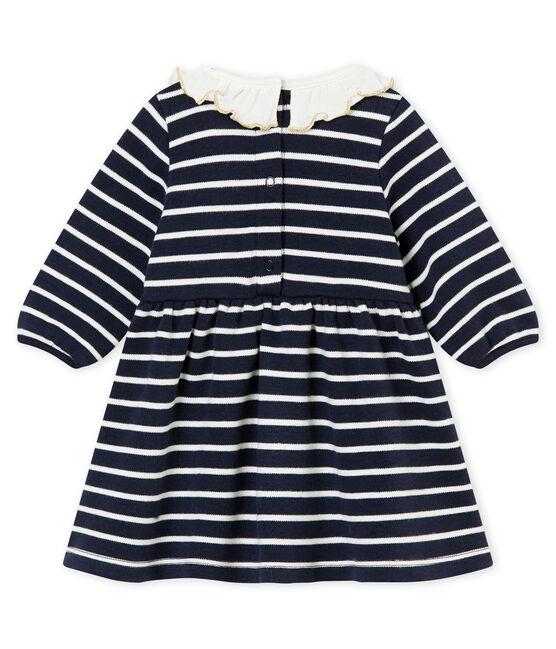 Robe rayure marinière bébé fille bleu Smoking / blanc Marshmallow