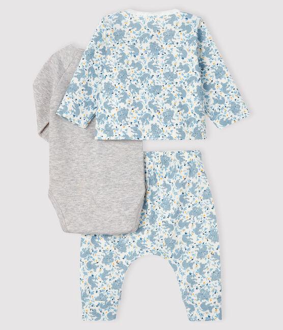 Ensemble 3 pièces bébé garçon en côte blanc Marshmallow / blanc Multico