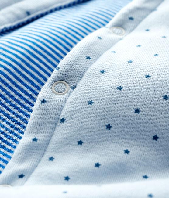 Gilet bleu sans manches réversible bébé garçon en côte ouatinée bleu Fraicheur / blanc Multico