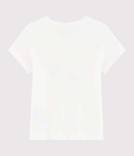 Tee shirt sérigraphié enfant fille blanc Marshmallow