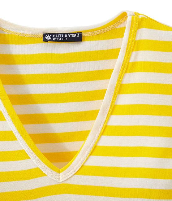 T-shirt femme col V en côte originale rayée jaune Shine / blanc Marshmallow
