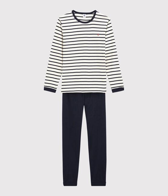 Pyjama à rayures marinière mixte en côte blanc Marshmallow / bleu Smoking
