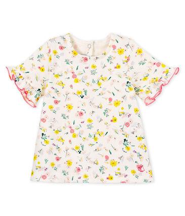 Blouse manches courtes imprimée bébé fille blanc Marshmallow / rose Minois