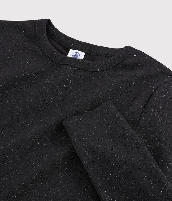 T-shirt iconique col rond Femme NOIR/ARGENT