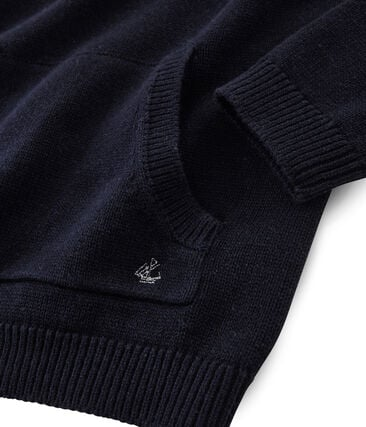 Pull tricot laine et coton enfant garçon bleu Smoking