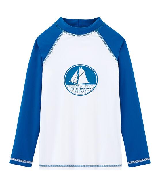 Tee shirt anti-UV UPF 50+ enfant fille et garçon blanc Marshmallow / bleu Riyadh