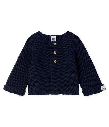 Cardigan laine et coton point mousse bébé fille bleu Smoking