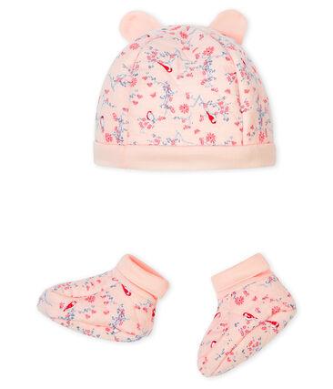 Lot bonnet naissance et chaussons bébé en tubique rose Fleur / blanc Multico
