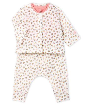 Ensemble trois pièces bébé fille en côte blanc Marshmallow / blanc Multico