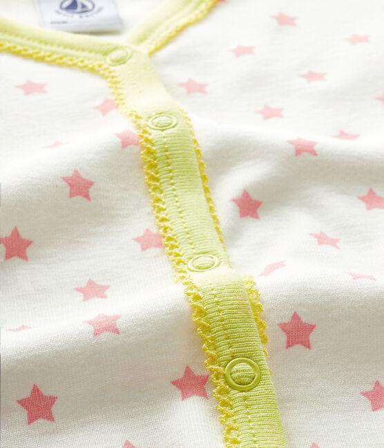 Dors bien sans pieds bébé fille en côte blanc Marshmallow / rose Gretel