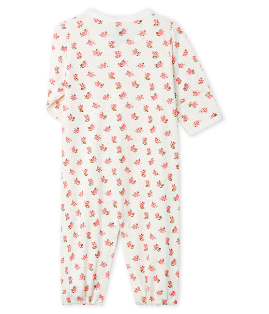 Combisac bébé en côte blanc Marshmallow / rose Gretel
