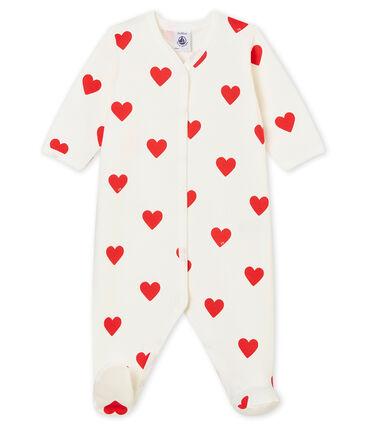 Dors Bien cœur bébé fille - bébé garçon en molleton blanc Marshmallow / rouge Terkuit