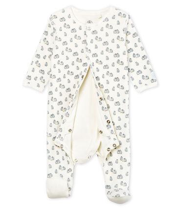 Bodyjama bébé garçon en velours blanc Marshmallow / blanc Multico