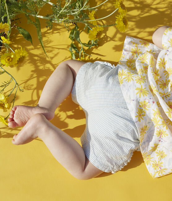 Short bébé fille en seersucker blanc Marshmallow / bleu Acier