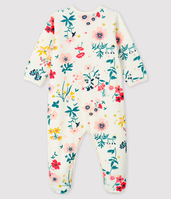 Dors-bien à imprimé fleuri bébé fille en velours blanc Marshmallow / blanc Multico