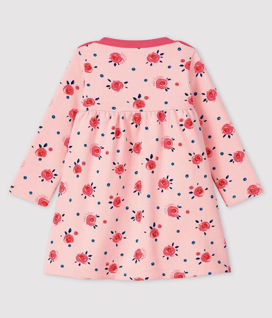 Robe manches longues bébé fille rose Minois / blanc Multico