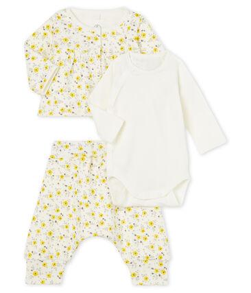 Ensemble trois pièces bébé fille en laine et coton blanc Marshmallow / blanc Multico