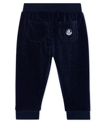 Pantalon bébé garçon en maille velours côtelé bleu Smoking