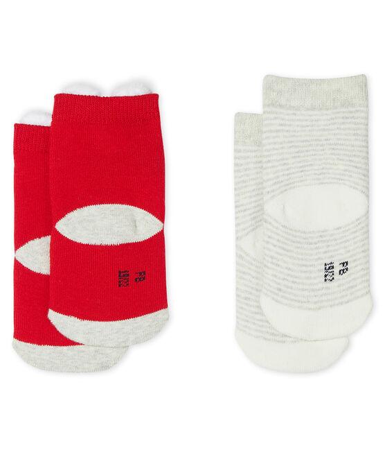 Lot de 2 paires de chaussettes bébé mixte rouge Terkuit