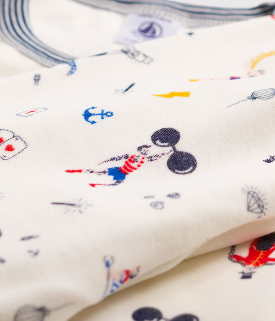 Pyjama imprimé festif petit garçon en velours blanc Marshmallow / blanc Multico