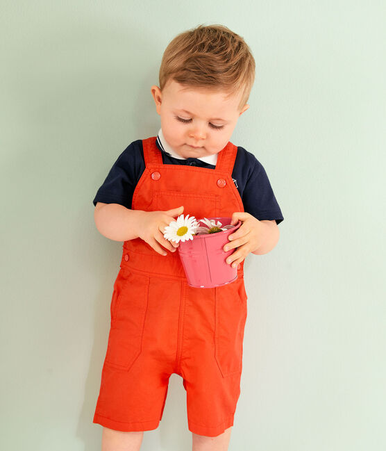 Salopette courte bébé garçon orange Spicy