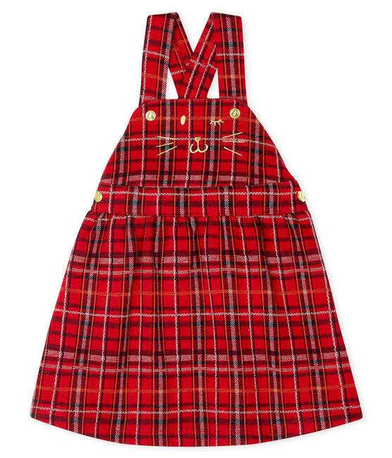 Robe salopette à carreaux bébé fille rouge Terkuit / blanc Multico