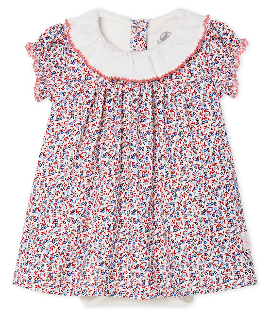 Robe body imprimée bébé fille blanc Marshmallow / rouge Terkuit