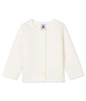 Cardigan bébé fille en tubique matelassé blanc Marshmallow