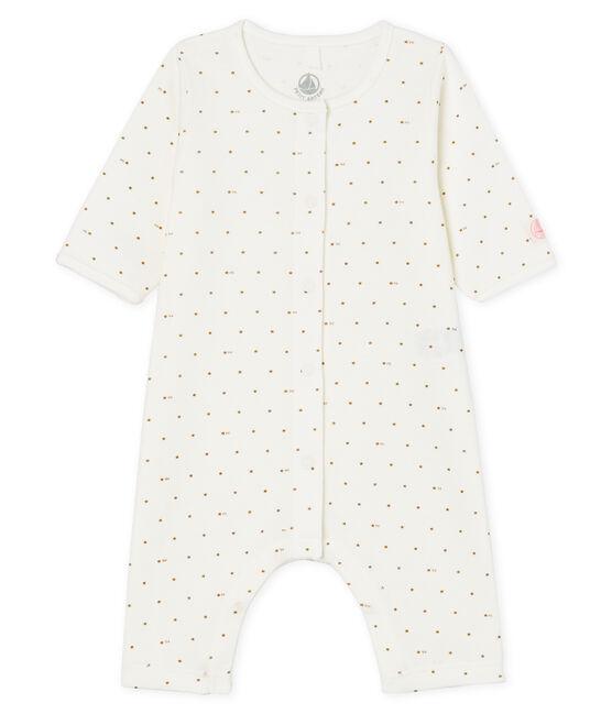Dors-bien sans pieds bébé en côte blanc Marshmallow / rose Gretel