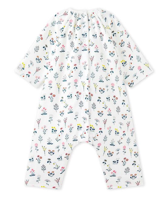 Combinaison bébé fille en tubique imprimé blanc Lait / blanc Multico