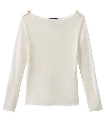 T-shirt femme en lin blanc Lait