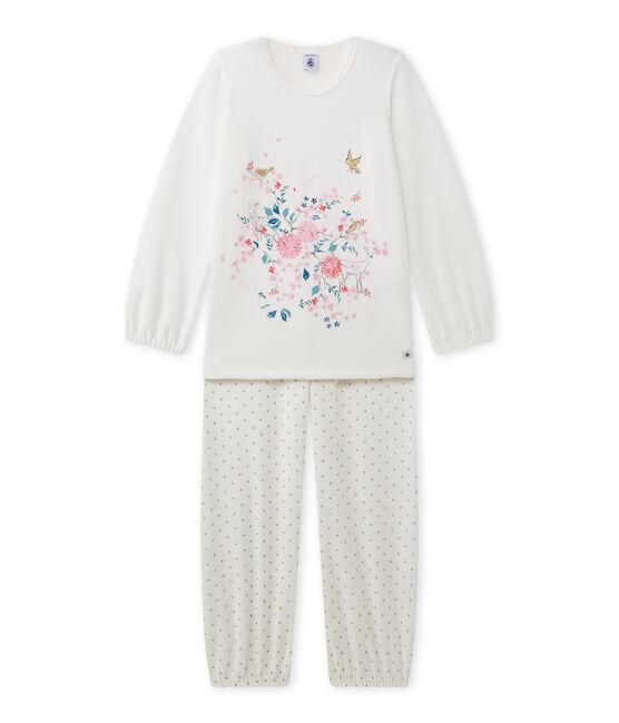 Pyjama fille à motif en bouclette velours blanc Lait / jaune Or