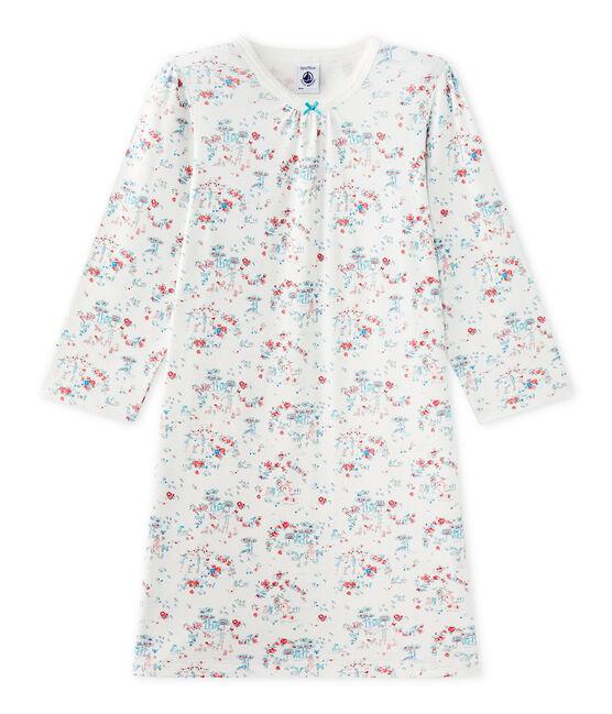 Chemise de nuit fille imprimée blanc Lait / blanc Multico