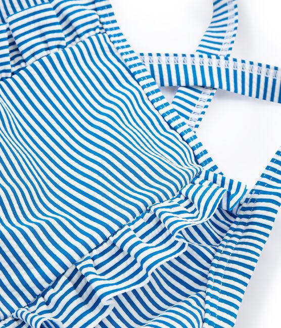 Maillot de bain 1 pièce enfant fille bleu Riyadh / blanc Marshmallow