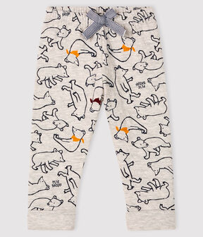 Pantalon bébé garçon en tubique gris Beluga / blanc Multico