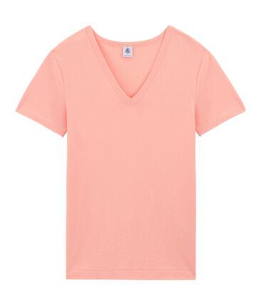 Tee-shirt manches courtes col V femme rose Rosako