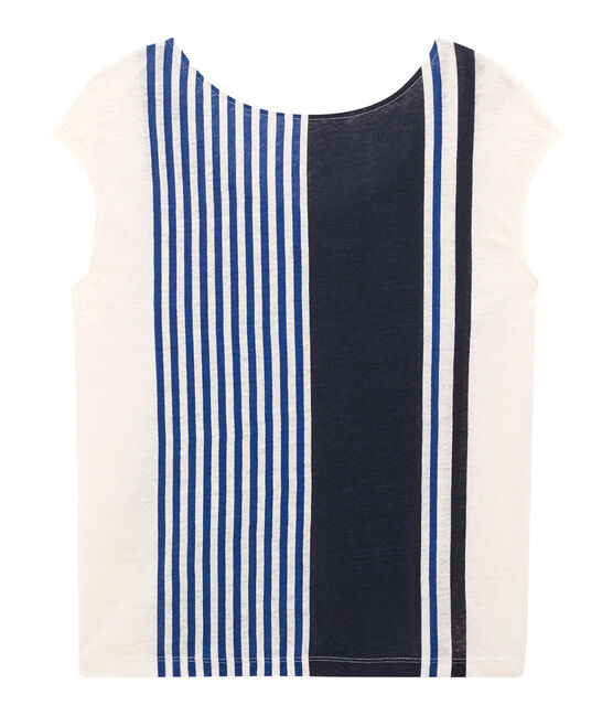 Tee-shirt manches courtes femme en lin blanc Marshmallow / blanc Multico