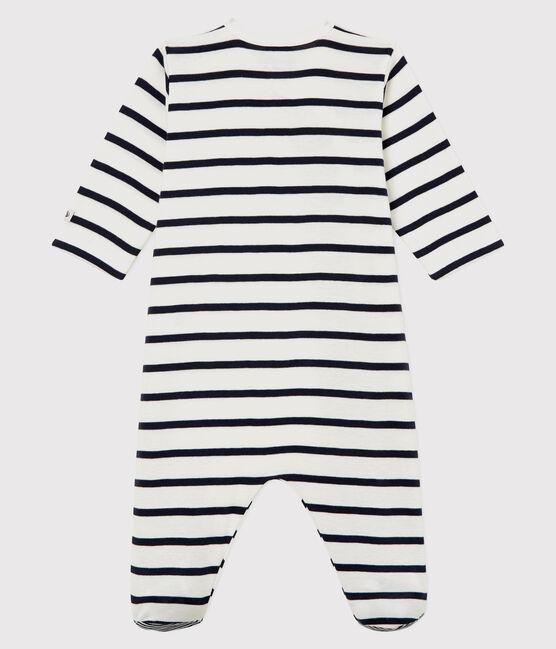 Dors-bien à rayures bébé en côte blanc Marshmallow / bleu Smoking
