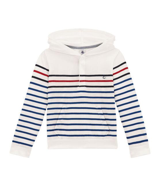 tee-shirtmanches longues à capuche blanc Marshmallow / bleu Smoking