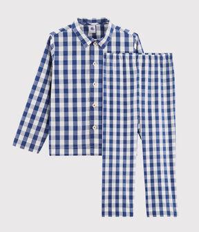 Pyjama à carreaux petit garçon en twill bleu Medieval / blanc Marshmallow