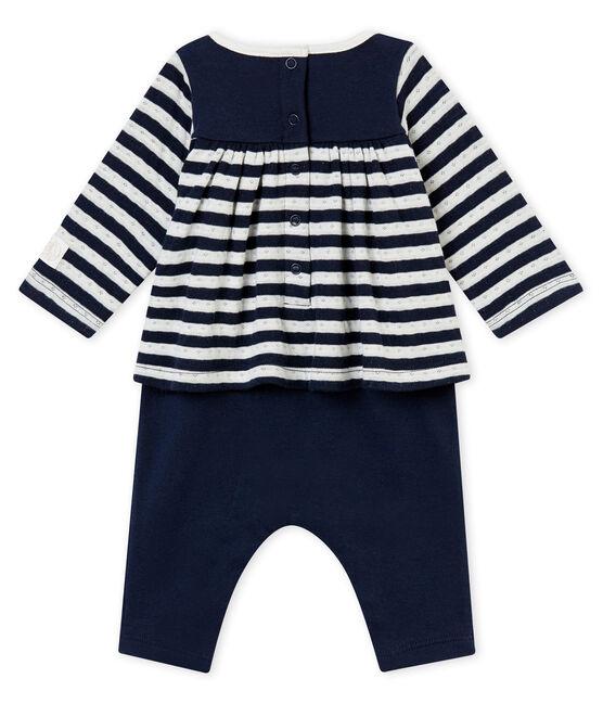 Combinaison longue bébé fille bleu Smoking / blanc Marshmallow