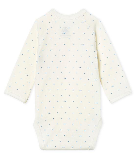 Body naissance manches longues bébé blanc Marshmallow / bleu Acier